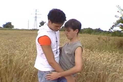 Two sexy boys have a pleasure oral stimulation outside